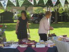 WI cake stall at the village fete. Our new bunting was on display